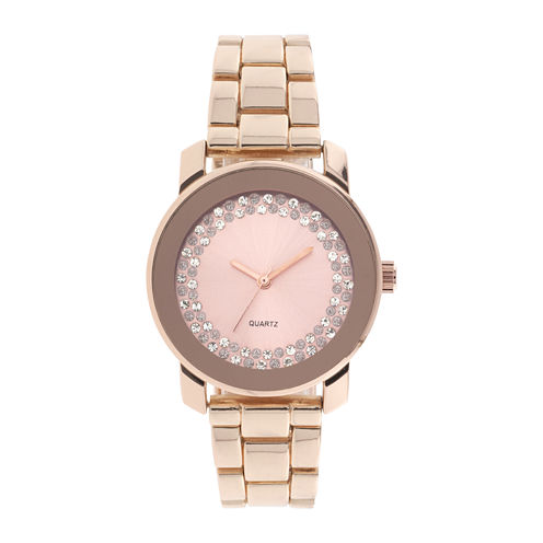 Womens Crystal-Accent Rose-Tone Bracelet Watch