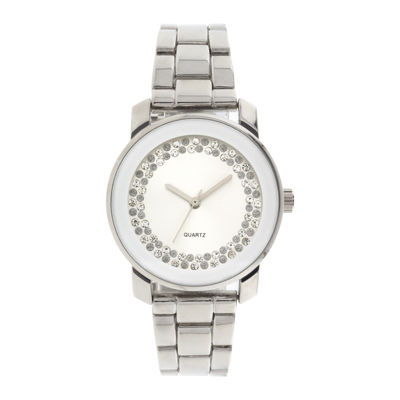 Womens Crystal-Accent Silver-Tone Bracelet Watch