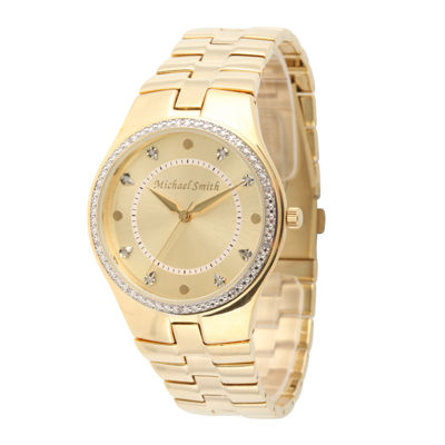Personalized Dial Mens Diamond-Accent Gold-Tone Watch