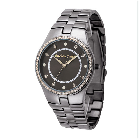 Personalized Dial Mens Diamond-Accent Black Watch