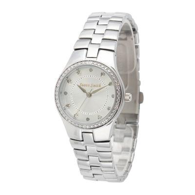Personalized Dial Womens Diamond-Accent Silver-Tone Bracelet Watch