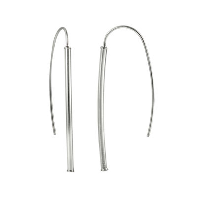 Sterling Silver Tube Drop Earrings