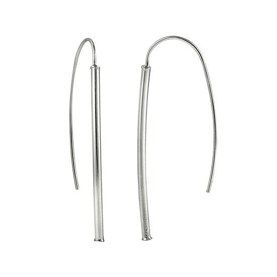 Sterling Silver Tube Drop Earrings