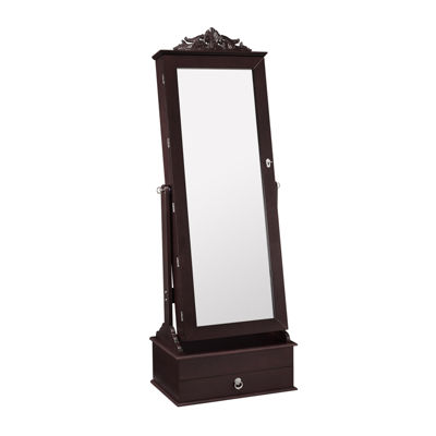 Cognac Cheval Mirrored Jewelry Armoire