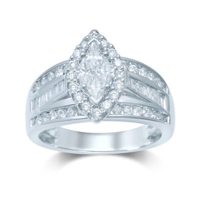 1¼ CT. T.W. Trillion-Cut Diamond 14K White Gold Ring