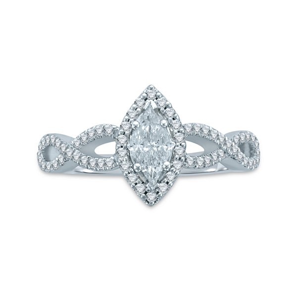 3/4 CT. T.W. Fancy-Cut Diamond 14K White Gold Bridal Ring Set