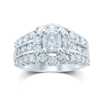 2 CT. T.W. Fancy-Cut Diamond 14K White Gold Ring