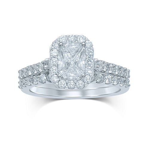 1½ CT. T.W. Fancy-Cut Diamond 14K White Gold Bridal Ring Set
