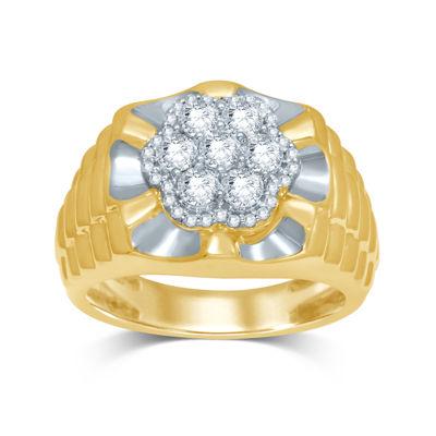 Mens 1 CT. T.W. Diamond 10K Yellow Gold Ring