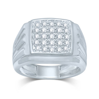 Mens 1/2 CT. T.W. Diamond 10K White Gold Square Top Ring