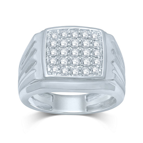 Mens 1 2 Ct Tw Diamond 10k White Gold Square Top Ring