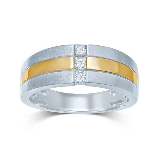 Mens 1/4 CT. T.W. Diamond 10K Two-Tone Gold 3-Stone Band