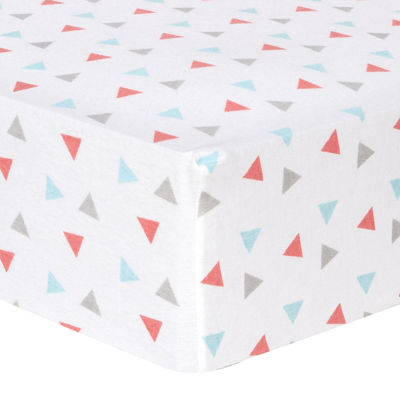 Trend Lab® Coral Triangle-Print Fitted Flannel Crib Sheet