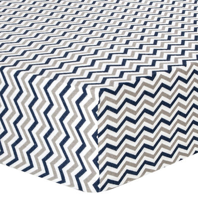 Trend Lab® Navy & Gray Chevron Fitted Flannel Crib Sheet