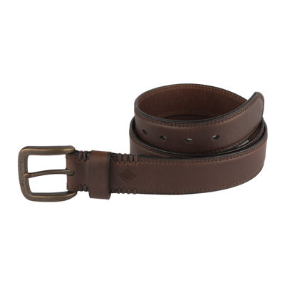 Columbia® Leather Double-Stitch Casual Men's Belt