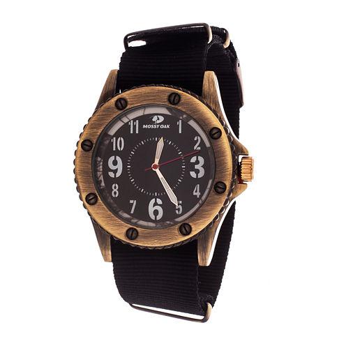 Mossy Oak Mens Black Bracelet Watch-Mow083ox-Bk