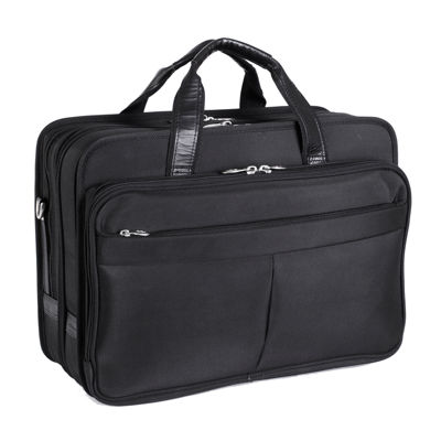 "McKleinUSA Walton 17"" Nylon Expandable Double Compartment Laptop Briefcase w/ Removable Sleeve"