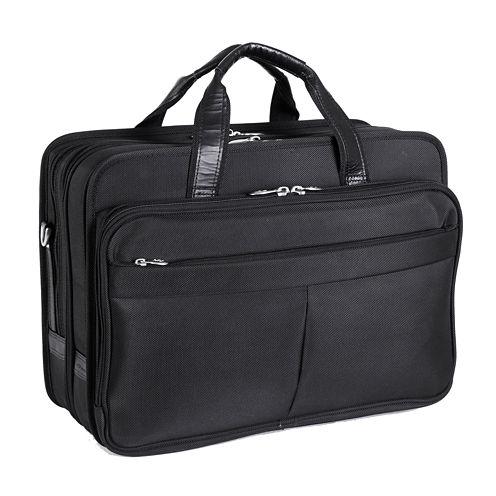 """McKleinUSA Walton 17"""" Nylon Expandable Double Compartment Laptop Briefcase w/ Removable Sleeve"""