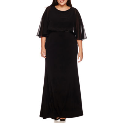Melrose Beaded-Waist Capelet Gown - Plus