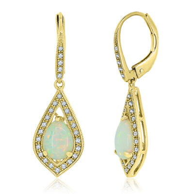 Lab-Created Opal & Lab Created White Sapphire 14K Gold Over Silver Drop Earrings