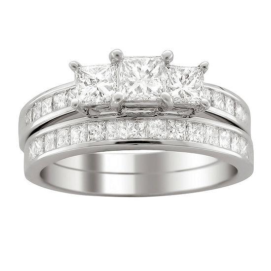 Womens 2 CT. T.W. Genuine White Diamond Platinum Bridal Set