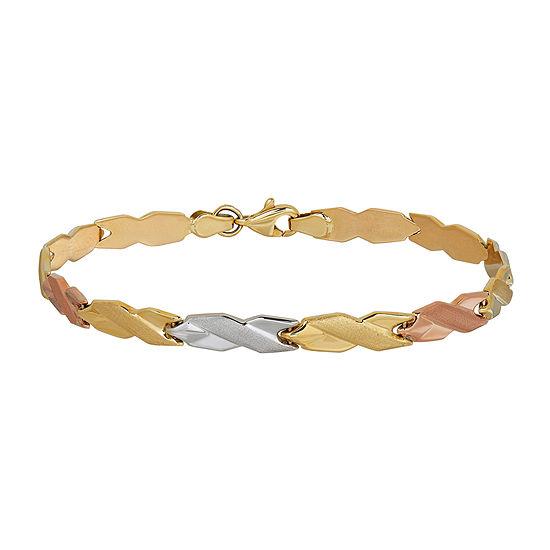 10K Tri-Color Gold 4.83mm Hollow Stampato Link Bracelet