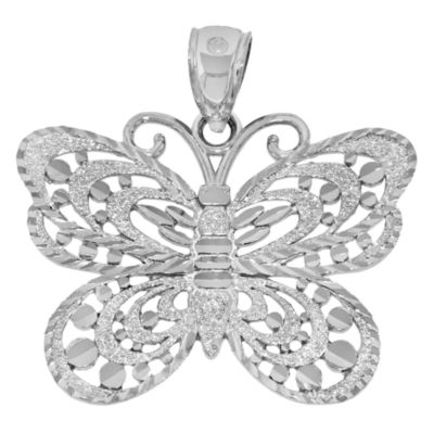 Sterling SIlver Diamond-Cut Butterfly Charm Pendant