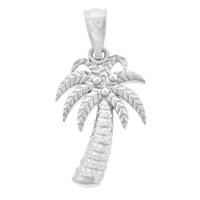 Sterling Silver Diamond Cut Pal Tree Charm Pendant