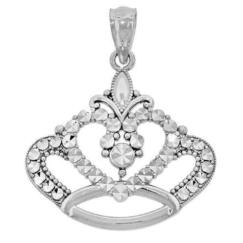 Sterling Silver Diamond-Cut Crown Charm Pendant