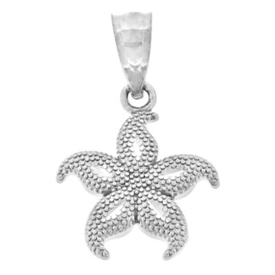 Sterling SIlver Beaded Starfish Charm Pendant