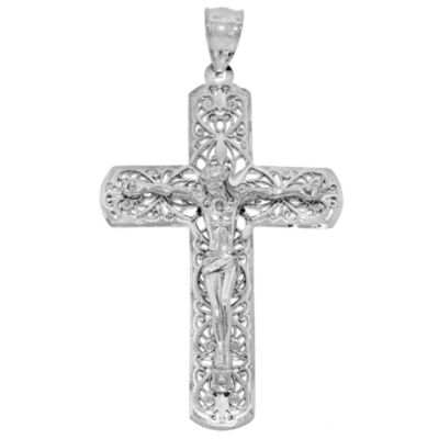Sterling Silver Ornate Crucifix Charm Pendant