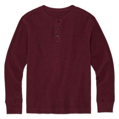 Arizona Long Sleeve Henley Shirt Boys 8-20