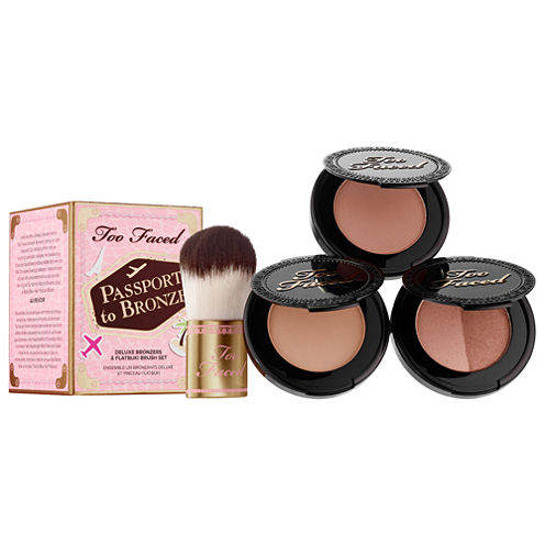 Too Faced Passport To Bronze Deluxe Bronzer & Flatbuki Brush Set