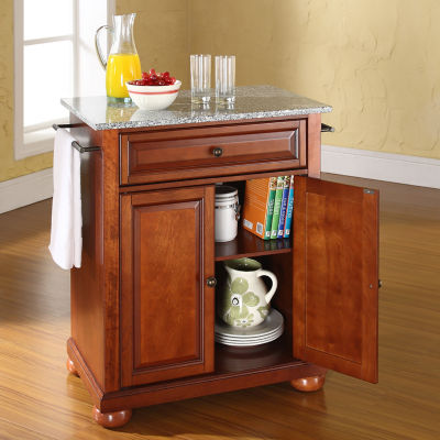 Caldwell Small Granite-Top Portable Kitchen Island