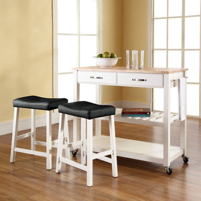 Geary 3-pc. Natural Wood Top Kitchen Island with 2 Upholstered Stools