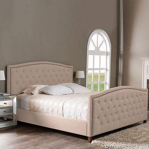 Baxton Studio Jessie Modern Upholstered Nail-Head Trim Bed