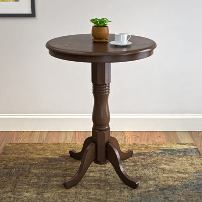 Woodgrove Dark Brown Bar Table with Pedestal Base