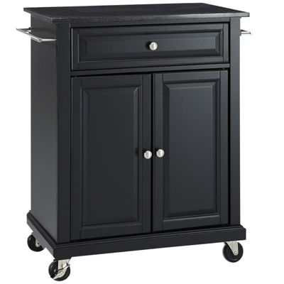 Wellman Black-Granite-Top Kitchen Cart
