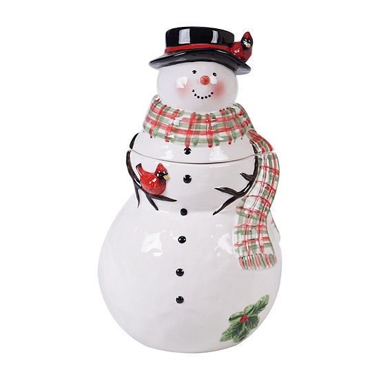 Certified International Watercolor Snowman Cookie Jar