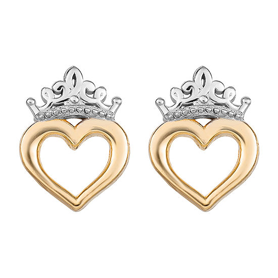 14K Gold 8.6mm Heart Disney Princess Stud Earrings