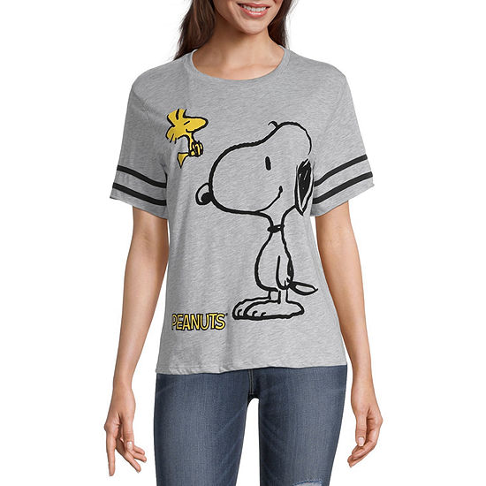 Peanuts-Juniors Snoopy Womens Crew Neck Short Sleeve Peanuts Graphic T-Shirt