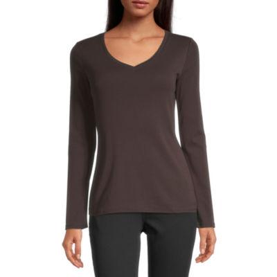 Liz Claiborne-Womens Scoop Neck Long Sleeve T-Shirt