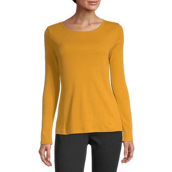 Liz Claiborne-Womens Round Neck Long Sleeve T-Shirt