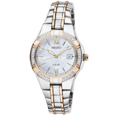 Seiko® Womens Two-Tone Diamond-Accent Solar Watch SUT068