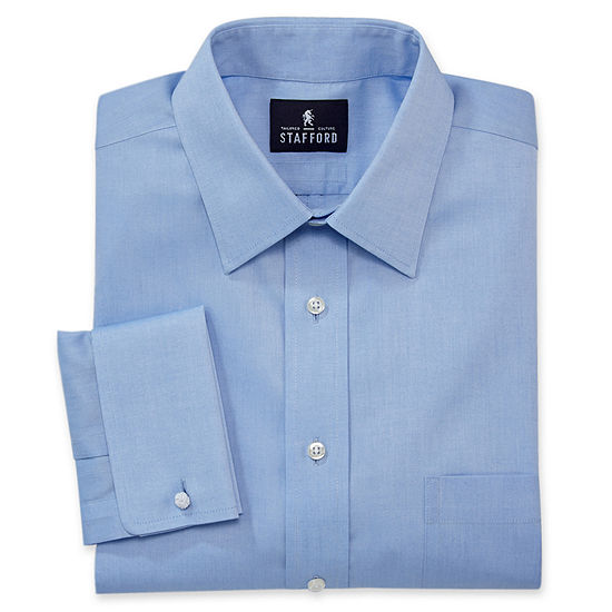 Stafford Mens Non-Iron Cotton French Cuff Spread Collar Dress Shirt