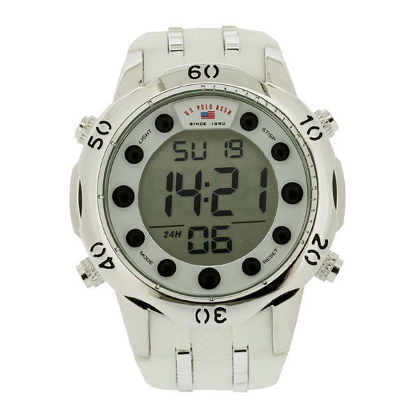 U.S. Polo Assn.® Mens White Silicone Strap Digital Watch