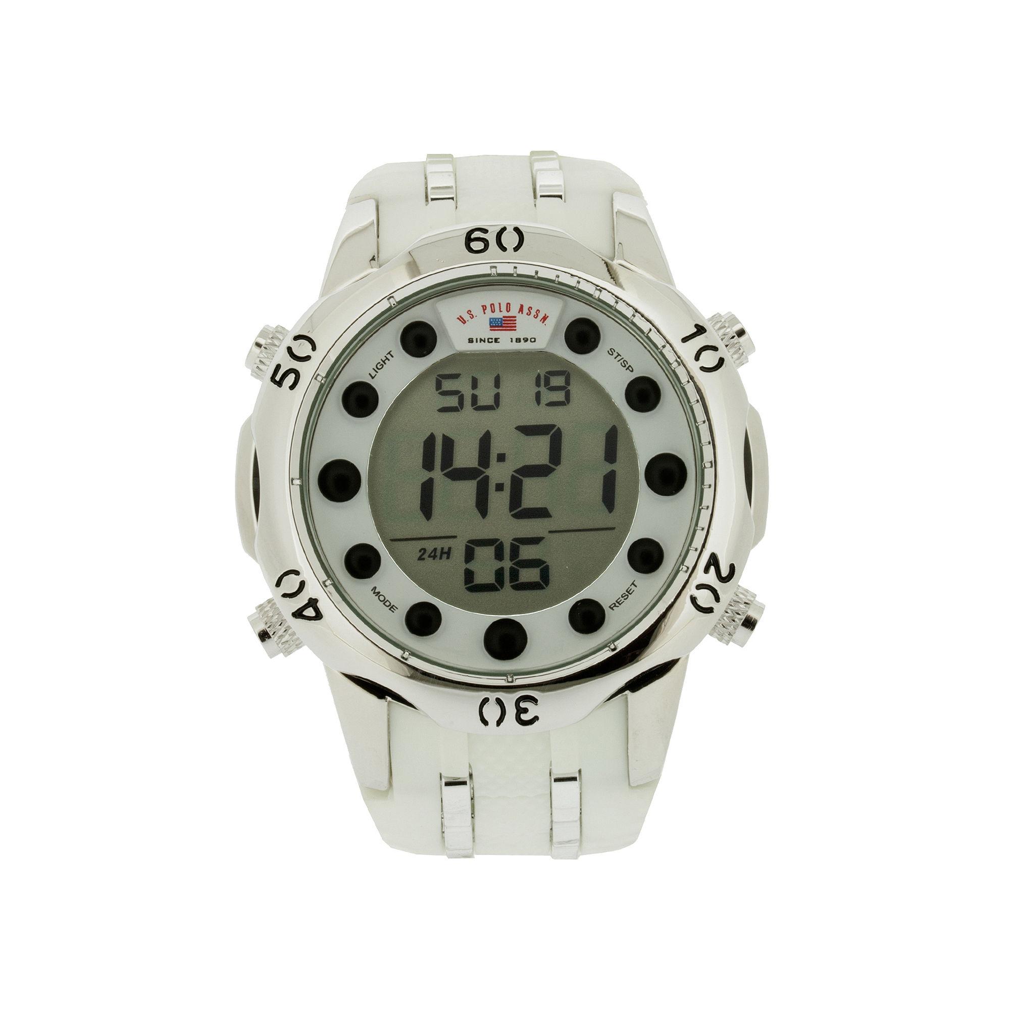 U.S. Polo Assn. Mens White Silicone Strap Digital Watch