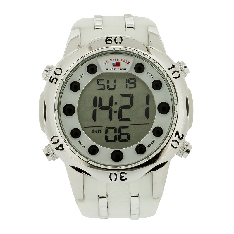 U.S. Polo Assn. Mens White Silicone Strap Digital Watch