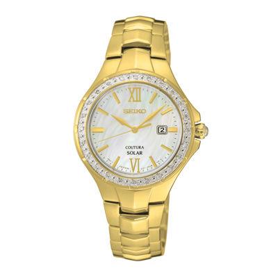 Seiko® Coutura Womens Diamond-Accent Solar Bracelet Watch SUT242