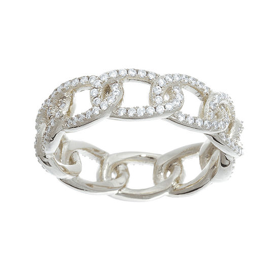 Cubic Zirconia Sterling Silver Curb Link Ring